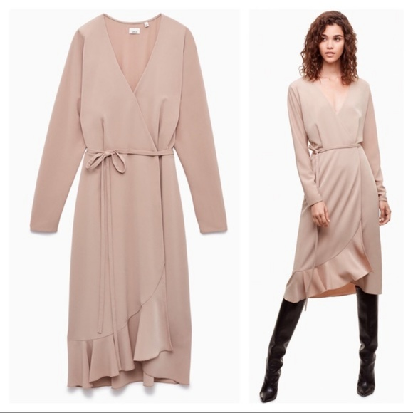 Aritzia Dresses & Skirts - Aritzia Wilfred Josie mid length wrap dress sz XXS